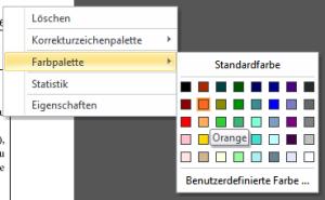 PDF-Korrektor 2.0: Die Farbpalette ist als Kontextmenü per rechter Maustaste erreichbar